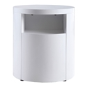 Arya White Round Modern End Table + Nightstand