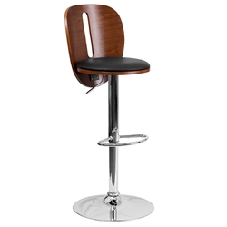 Ashton Modern Adjustable-Height Bar Stool in Walnut