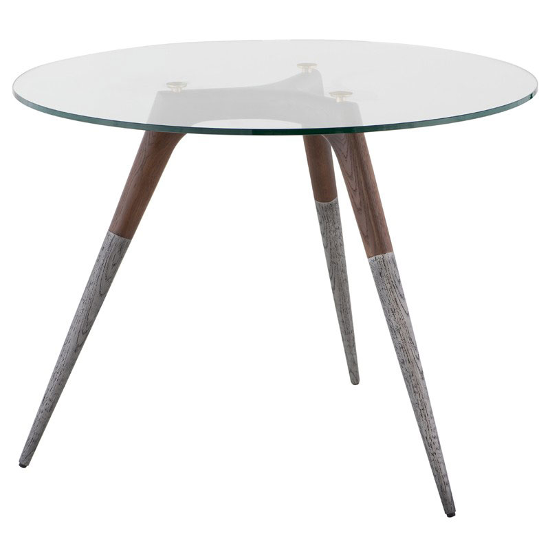 Assembly Smoked Oak + Clear Glass + Cast Aluminum Round Modern Bistro Dining Table