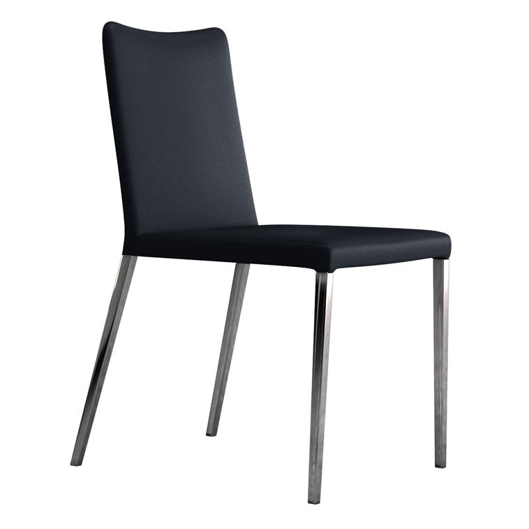 Modloft Asti Modern Dining Chair in Blue Eco Leather with Polished Steel Legs