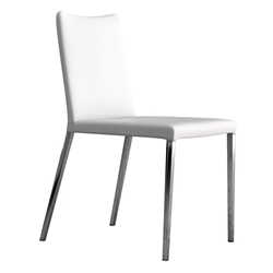 Modloft Asti Modern Dining Chair in White Eco Leather with Polished Steel Legs