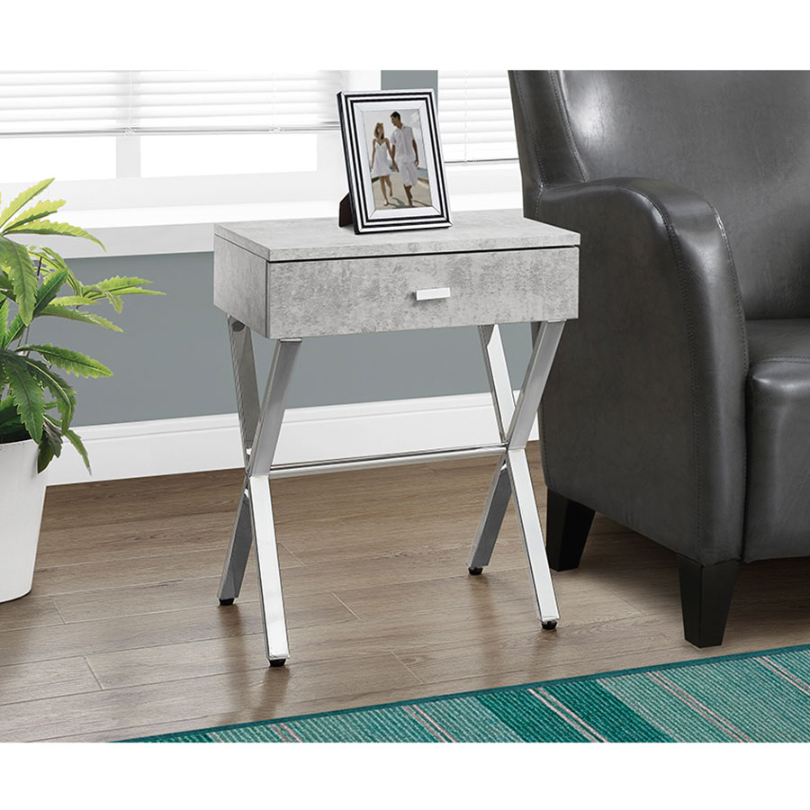 Charmant ... Astoria Modern Gray Cement Side Table