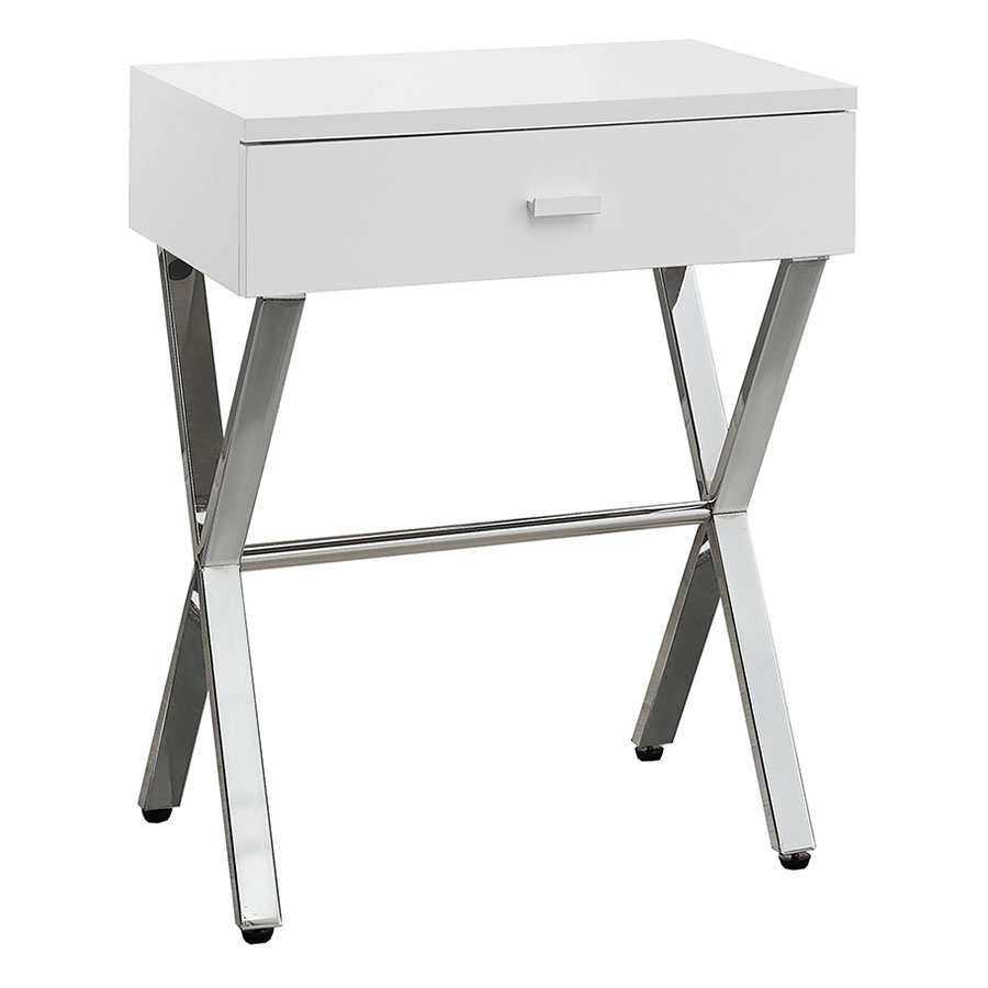 Astoria Modern Glossy White Nightstand Side Table