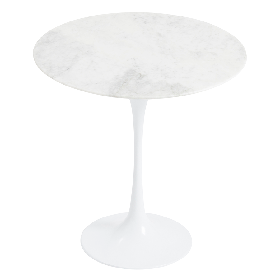 Astrid White Marble Modern Side Table