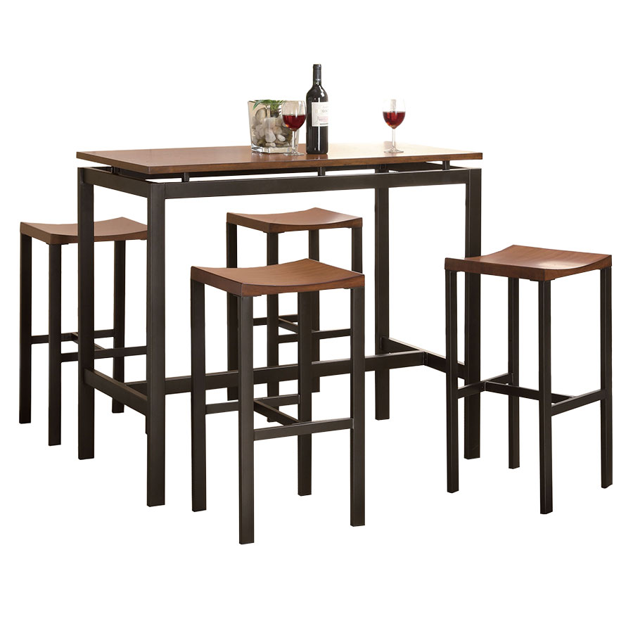 athens modern bar table stool set in cherry and black