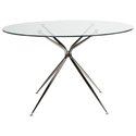 Atos Black Nickel 48 Inch Round Modern Glass Dining Table