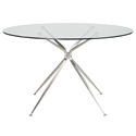 Atos 48 Inch Round Brushed Metal Modern Glass Dining Table