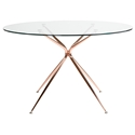 Atlanta 48 Inch Round Copper Modern Glass Dining Table