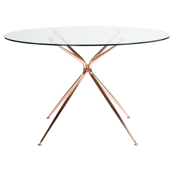 Atos 48 Inch Round Copper Modern Glass Dining Table