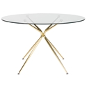 Atos 48 Inch Matte Gold Round Modern Glass Dining Table