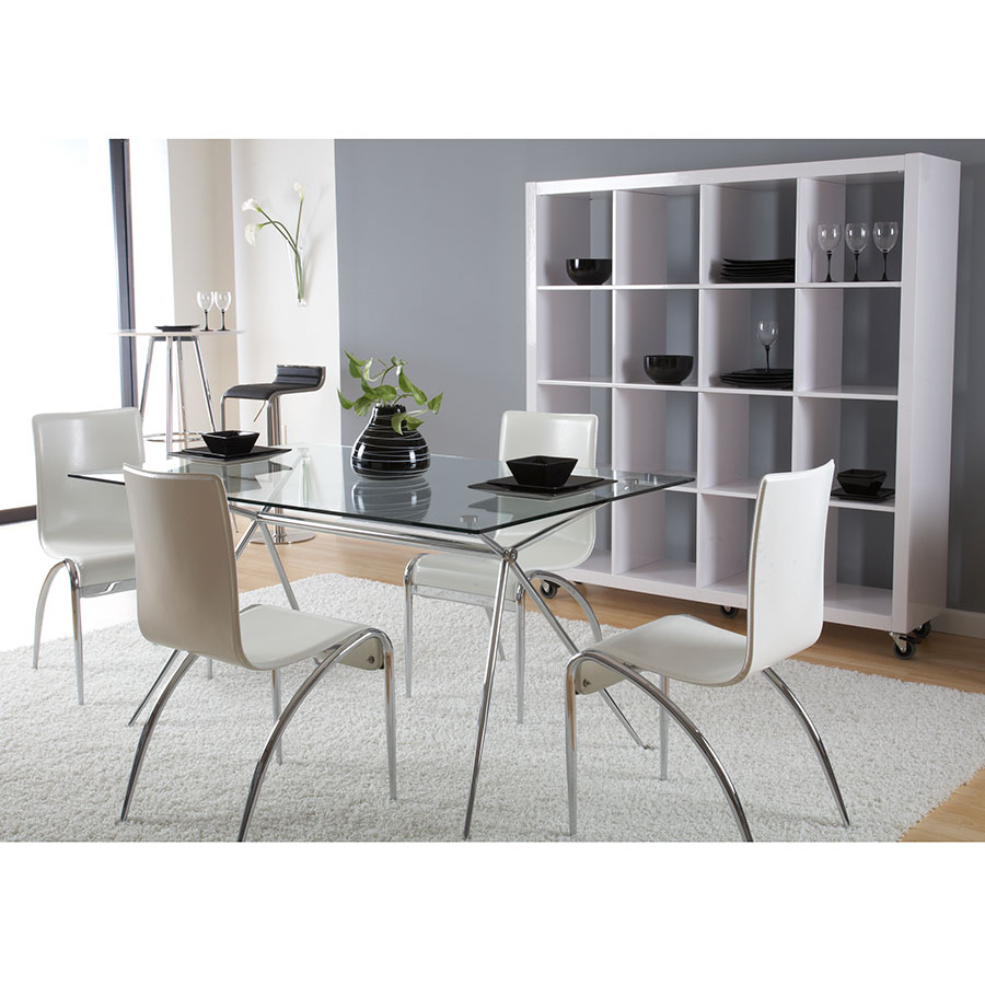 ... Atlanta Modern Glass + Chrome Dining Table ...