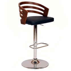 Atlanta Contemporary Adjustable Black + Walnut Stool