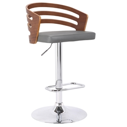 Atlanta Contemporary Adjustable Gray + Walnut Stool