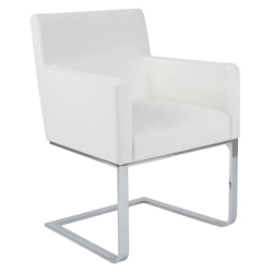 Atlas Modern Dining Arm Chair in White