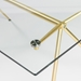 Atlanta 66 Inch Matte Brushed Gold Modern Glass Dining Table - Detail