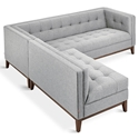 Gus* Modern Atwood Bi Sectional Sofa in Parliament Stone Fabric Upholstery with Walnut Wood Base