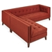 Gus* Modern Atwood Bi Sectional Sofa in Stockholm Terracotta Fabric Upholstery with Walnut Wood Base
