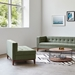 Gus* Modern Atwood Lounge in Parliament Moss Fabric Upholstery with Walnut Wood Base
