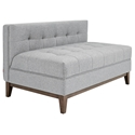 Gus* Modern Atwood Contemporary Lounge in Gray Parliament Stone Fabric Upholstery with Walnut Wood Base