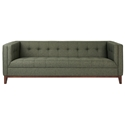 Gus* Modern Atwood Sofa in Green Parliament Moss Fabric Upholstery with Walnut Wood Base