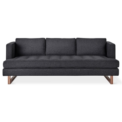 Gus* Modern Aubrey Contemporary Sofa in Berkeley Shield Fabric Upholstery and a Solid Walnut Base