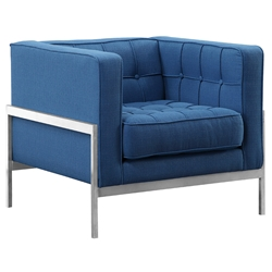 Aukland Modern Blue Fabric Lounge Chair