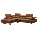 Aulum Caramel Italian Leather + Brushed Steel Modern Left Facing Sectional Sofa