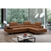 Aulum Caramel Italian Leather + Brushed Steel Modern Right Facing Sectional Sofa - Room Shot