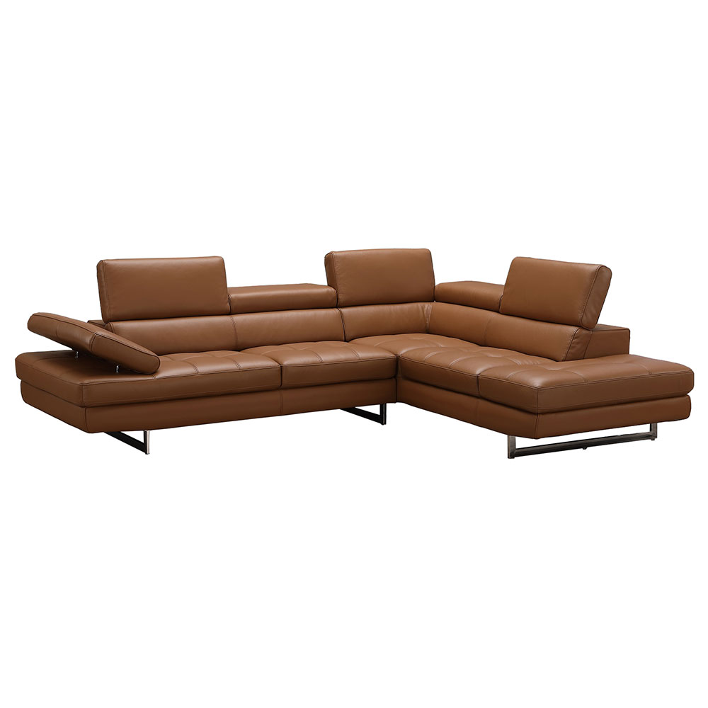 Aulum Caramel Italian Leather + Brushed Steel Modern Right Facing Sectional Sofa