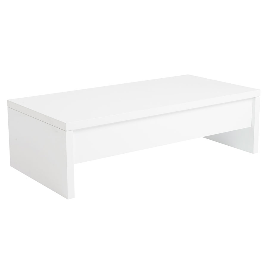 Austin convertible white coffee table eurway modern - Table transformable up down ...