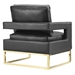 Austria Black Leather and Gold Modern Chair