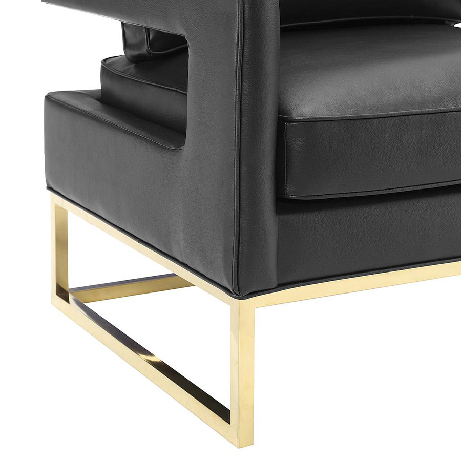 ... Austria Black Leather And Gold Modern Arm Chair