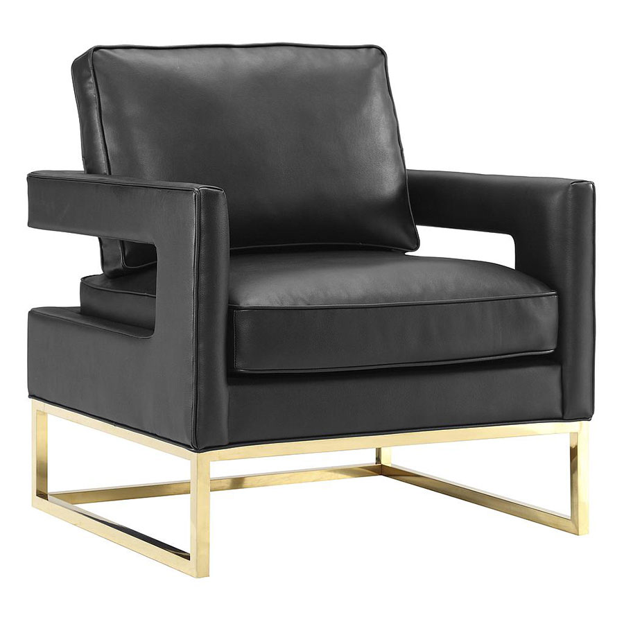 Black leather chairs - Austria Black Leather Gold Modern Lounge Chair
