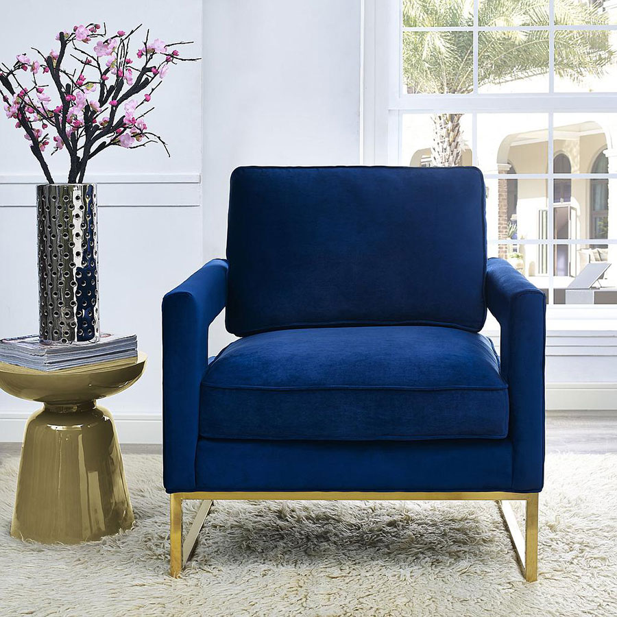 Charmant ... Austria Blue Velvet With Gold Modern Arm Chair