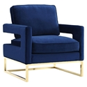 Austria Blue Velvet + Gold Modern Lounge Chair