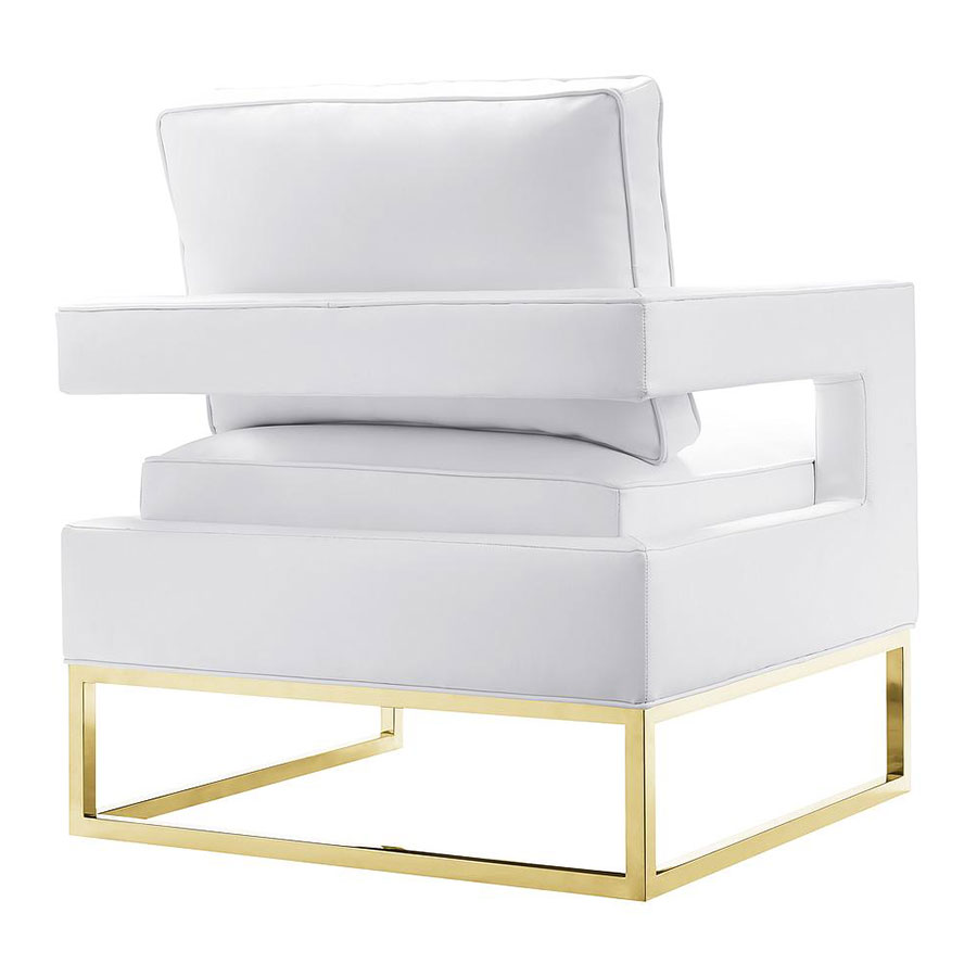 austria white bonded leather chair  eurway -  austria white leather and gold modern chair