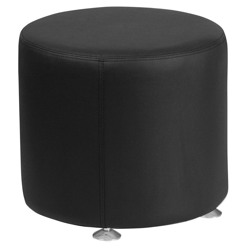 Avalon Modern 18 In. Round Ottoman in Black