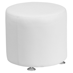 Avalon Modern 18 In. Round Ottoman in White