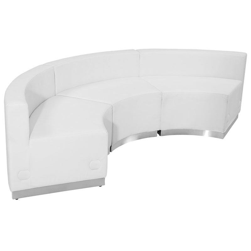 Avalon Modern White Modular Concave 3 Pc Sectional