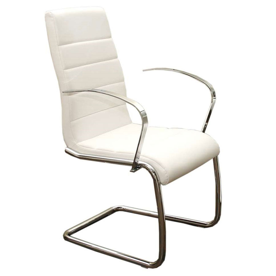 Modern dining chairs avandra white arm chair eurway for White dining chairs with arms