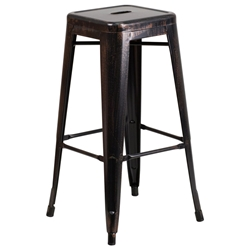 Avenue Black Antique Gold Industrial Modern Bar Stool