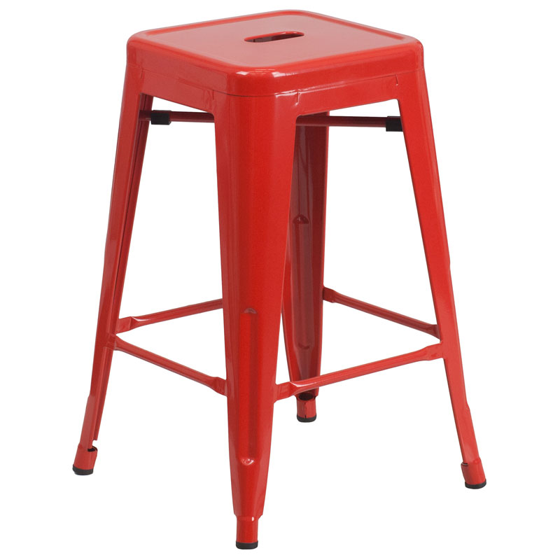 Avenue Red Industrial Counter Stool