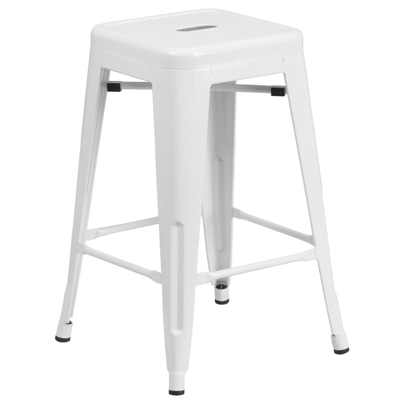 Metro Backless White Industrial Counter Stool