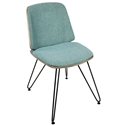 Avenue Modern Side Chair in Dark Gray and Teal