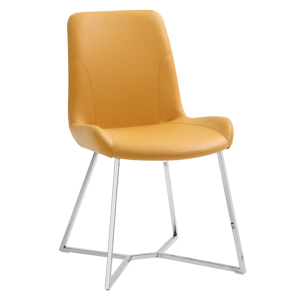 Azimuth Yellow Faux Leather + Polished Steel Modern Dining Chair