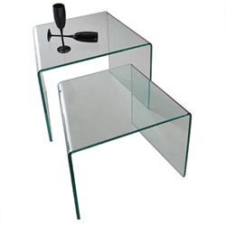 Azle Clear Bent Glass Modern Nesting End Tables