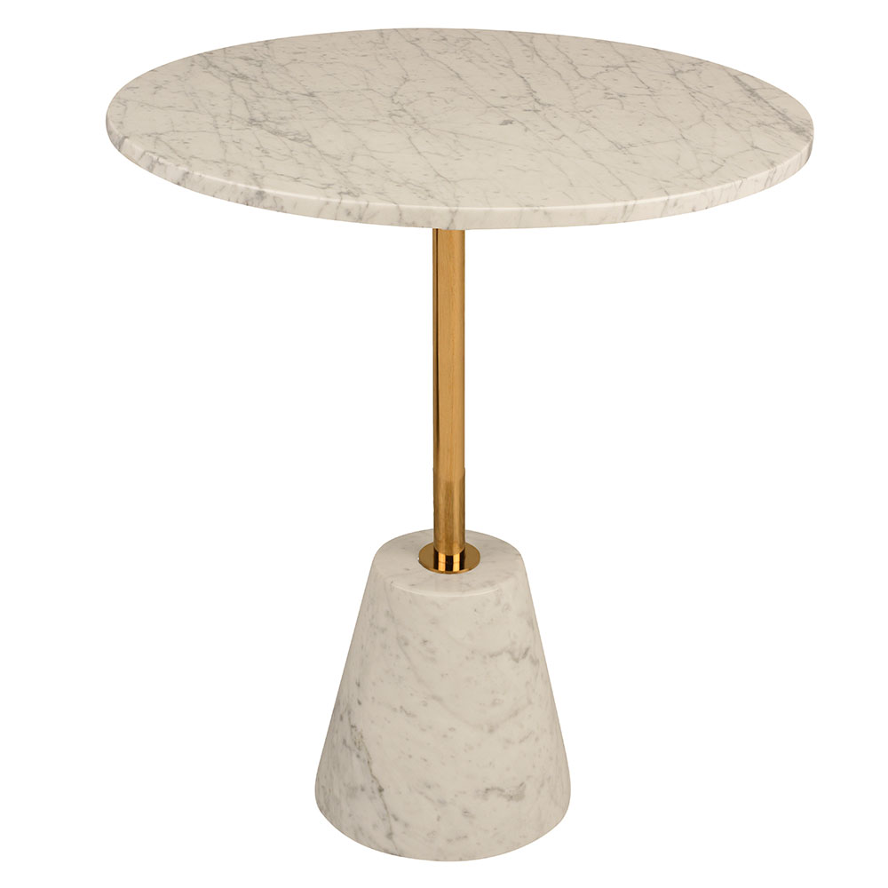 Bianca White Round Marble + Gold Metal Modern Side Table