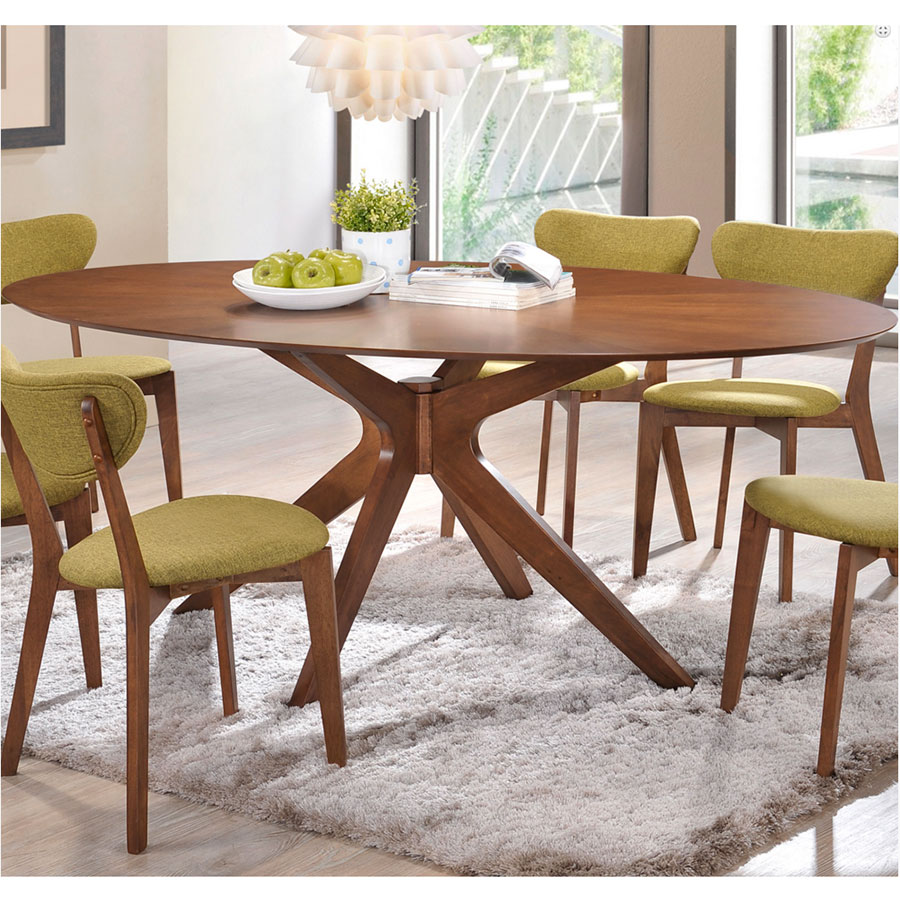 Balboa Contemporary Oval Dining Table In Walnut