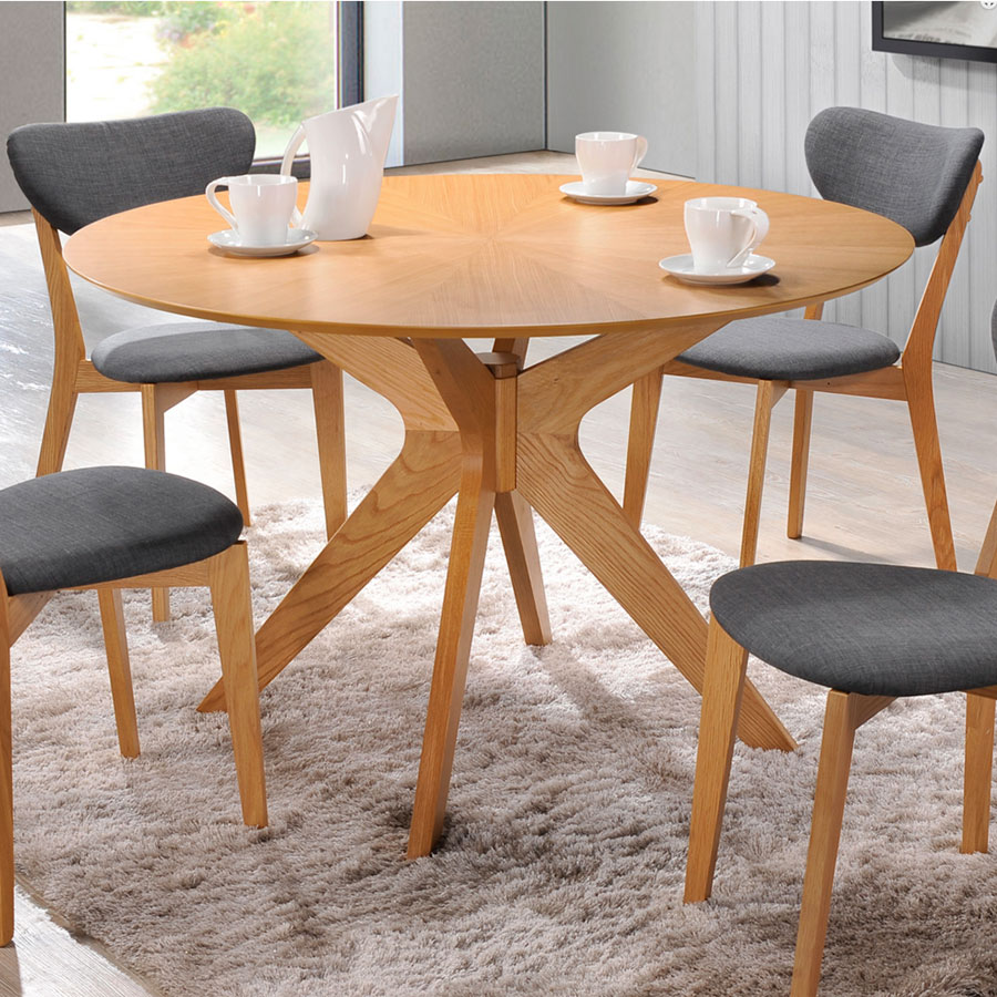 Outdoor round dining table -  Balboa Contemporary Round Dining Table In Oak