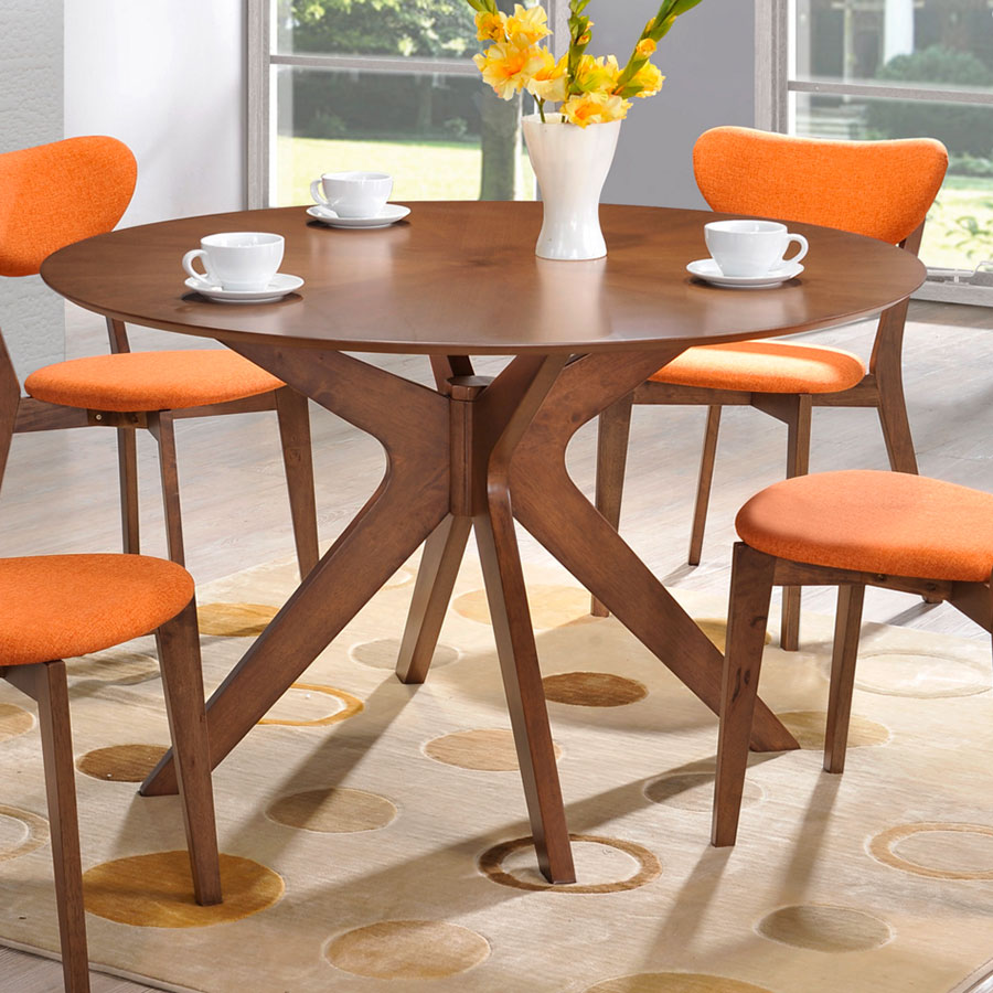 Contemporary Round Dining Table Balboa Modern Round Dining Table In Walnut Eurway
